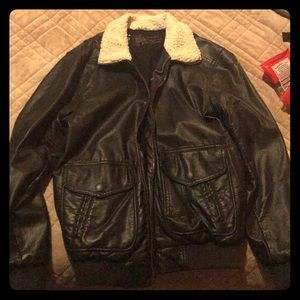 Charles and 1/2 Sherpa Bomber Jacket. Faux Leather